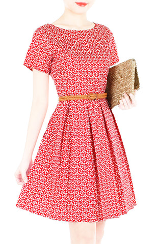 Christmas Poinsettia Flare Dress with Short Sleeves