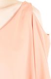 Class to Café Cropped Cold Shoulder Top - Pastel Peach
