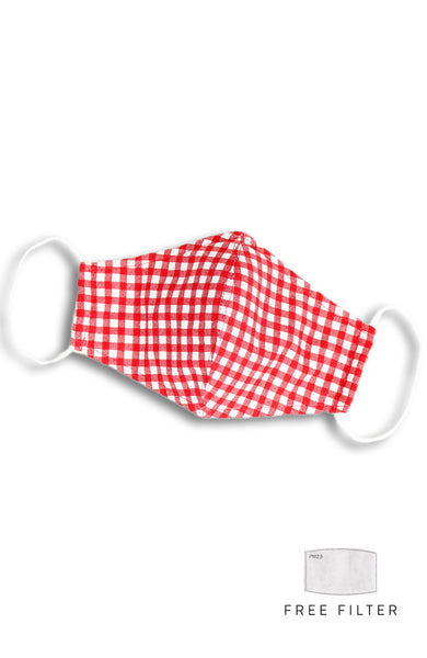 Classic Checkered Beauty Pure Cotton Face Mask - Ruby Red