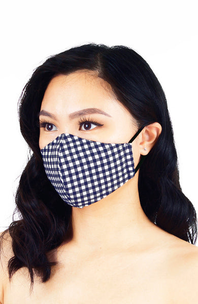 Classic Checkered Pure Cotton Face Mask - Navy