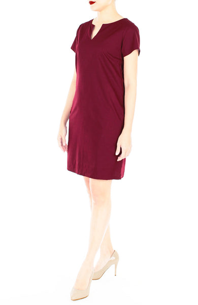 Classic Chic Lily Shift Dress - Wine Red