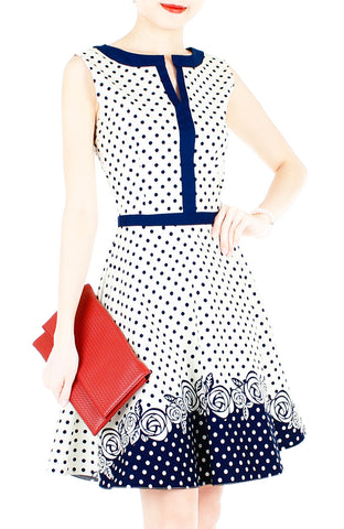 Classic Cornerstone Rose Flare Dress with Blue Trims