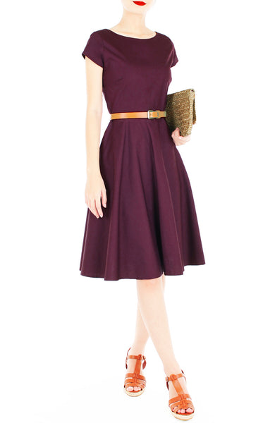 Classic Weekender Flare Tea Dress - Mulberry