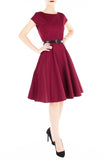 Classic Weekender Flare Tea Dress - Wine Red