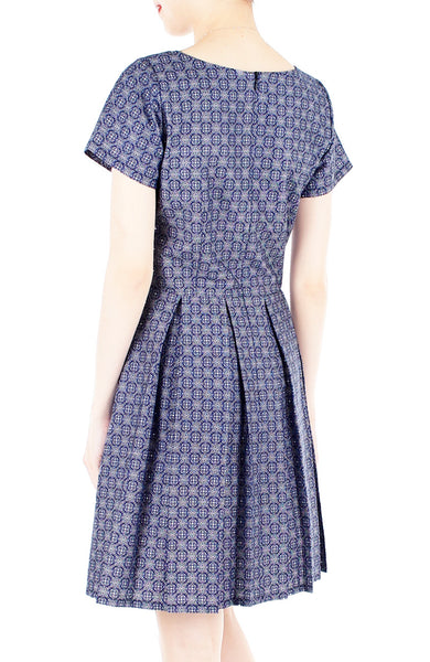 Colonial Spanish Tile Print Flare Dress with Short Sleeves