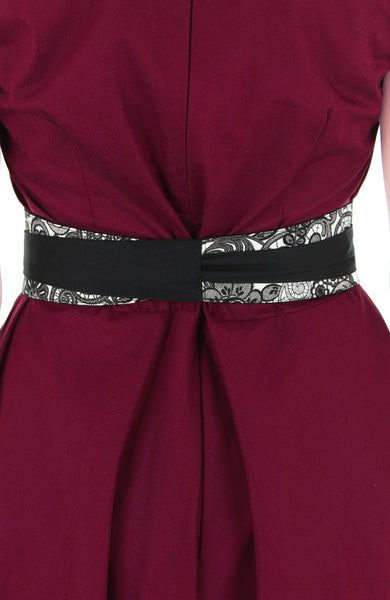 Contemporary Obi Belt - Black Chantilly