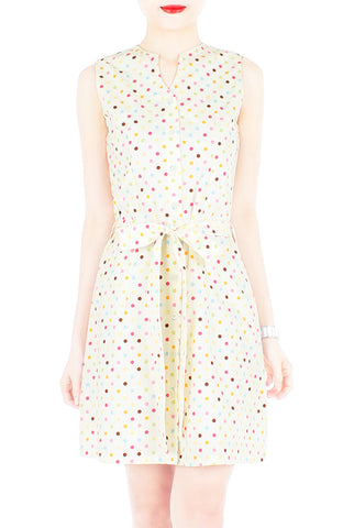 Cupcake Sprinkles & Dots A-Line Button Down Dress - Vanilla