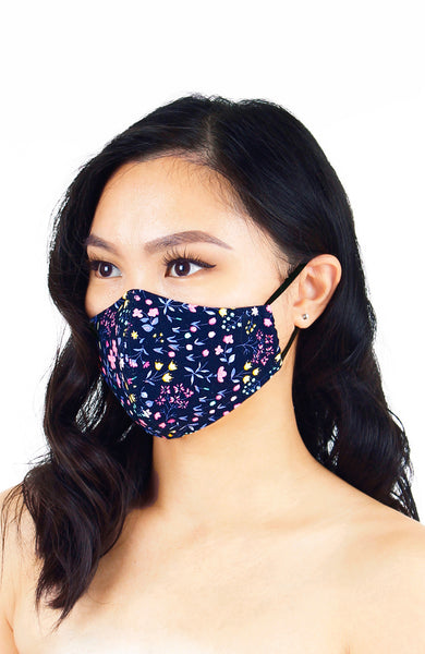 Dainty Tulip Petals Pure Cotton Face Mask - Navy
