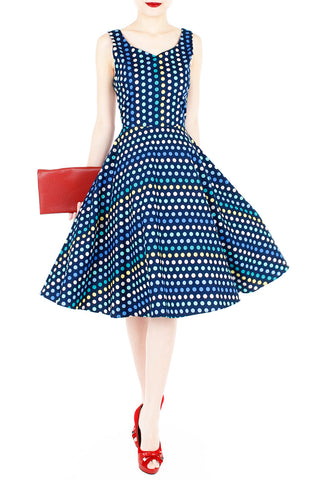 Dance the Disco Polka Dot Flare Midi Dress