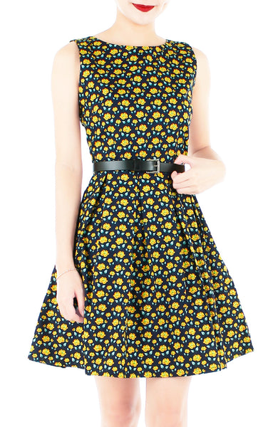 Dancing Dahlias Flare Dress