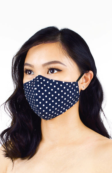 Darling Dots Pure Cotton Face Mask - Midnight Blue
