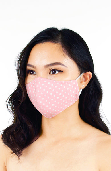 Darling Dots Pure Cotton Face Mask - Ballet Pink