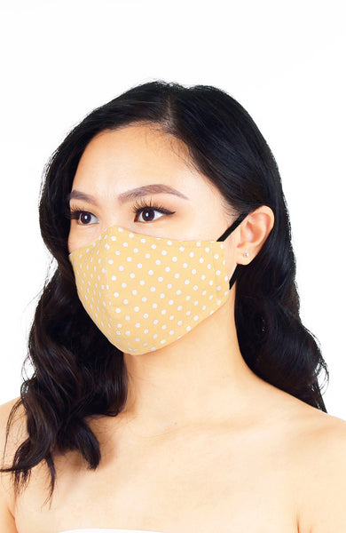 Darling Dots Pure Cotton Face Mask - French Khaki