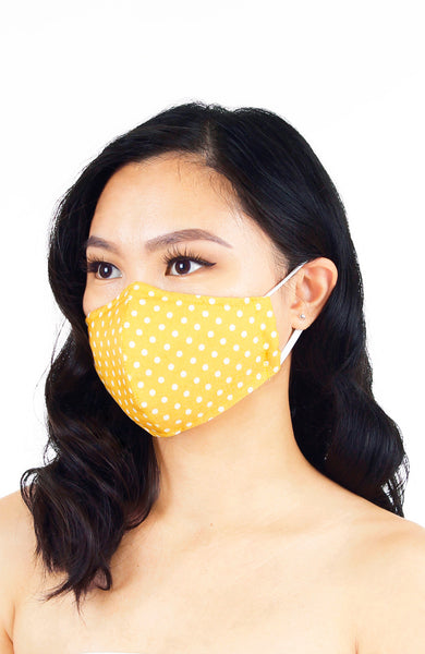 Darling Dots Pure Cotton Face Mask - Honey Yellow