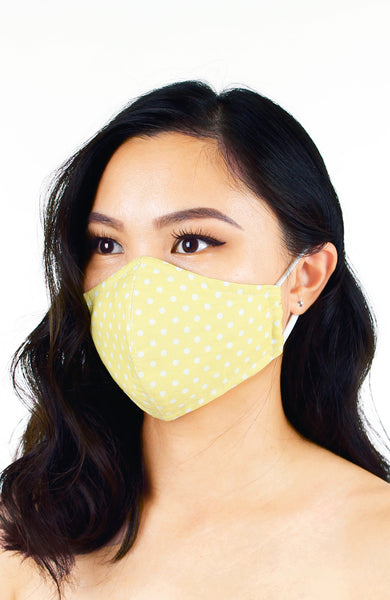 Darling Dots Pure Cotton Face Mask - Pastel Daffodil