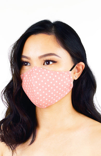 Darling Dots Pure Cotton Face Mask - Peach Pink