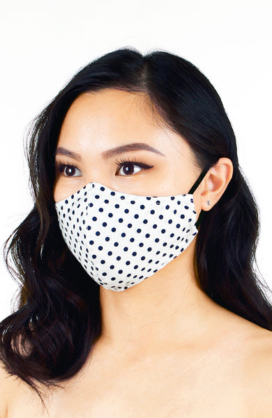 Darling Dots Pure Cotton Face Mask - White & Navy