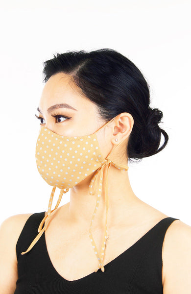 Darling Dots Pure Cotton Face Mask with Head Ties - French Khaki
