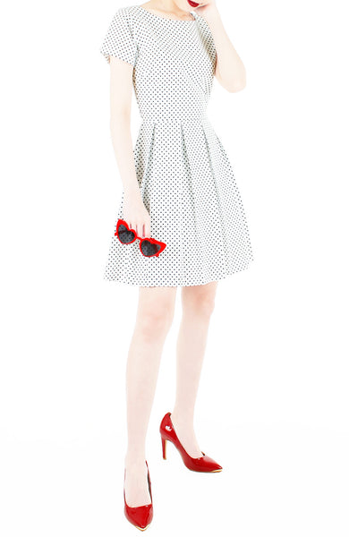 Darling Dots Flare Dress with Short Sleeves - White