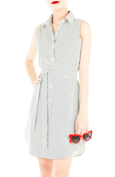 Darling Dots Shirtdress - White