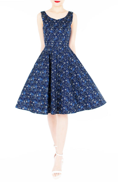 Delicate Kinmokusei Flare Midi Dress - Blue