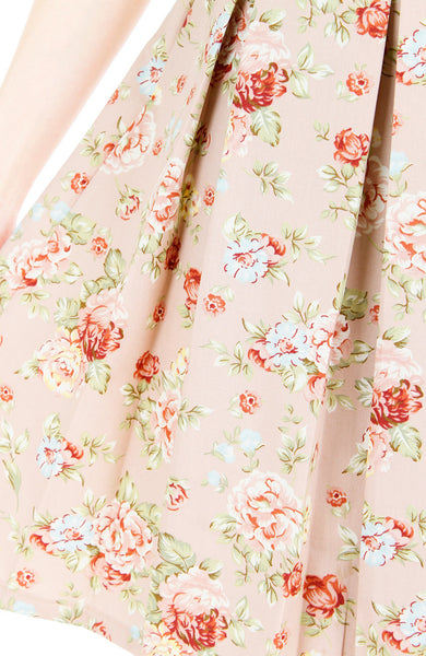 Delicate Rose Artisan Cheongsam Dress - Cream