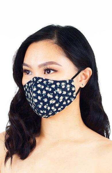 Delightfully Daisies Pure Cotton Face Mask - Navy