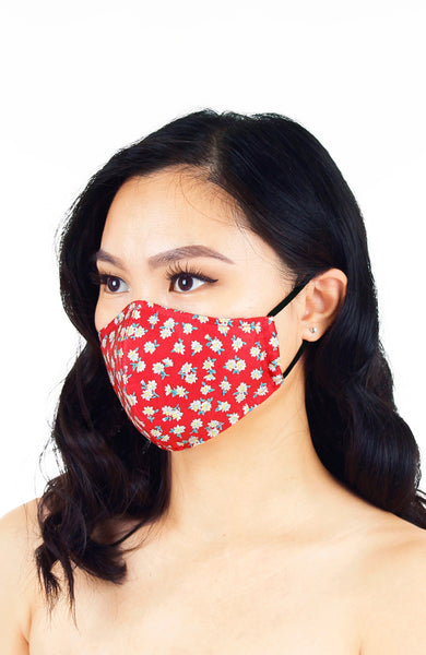 Delightfully Daisies Pure Cotton Face Mask - Scarlet Red