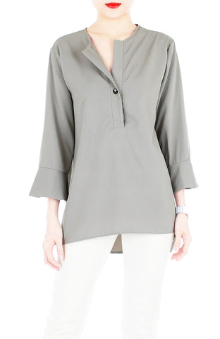 Downtown Diva ¾-Length Sleeve Blouse - Grey