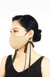 ENCHANTING Pure Cotton Face Mask with Matte Satin Ribbons - Latte