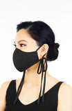 ENCHANTING Pure Cotton Face Mask with Matte Satin Ribbons - Noir Black