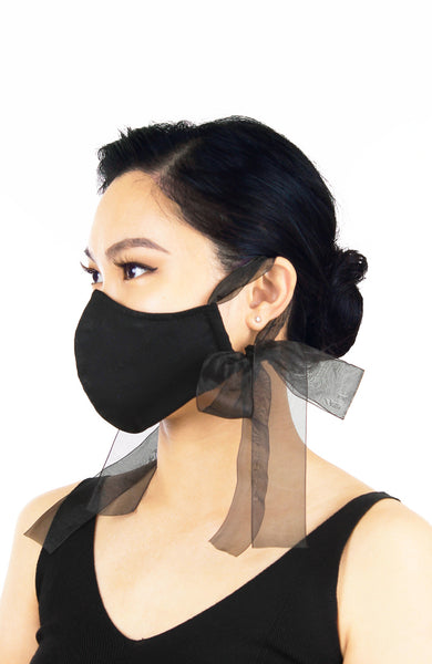 ENCHANTING Pure Cotton Face Mask with Organza Ribbons - Noir Black
