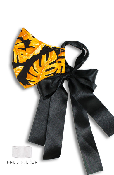 ENCHANTING Pure Cotton Face Mask with Satin Ribbons - Golden Palms