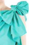 Elegance Bow One-Shouldered Top - Turquoise