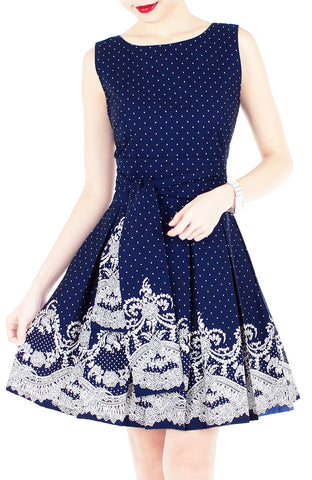 Elegant Moments in Spots & Lace Flare Dress with Obi Belt - Midnight Blue
