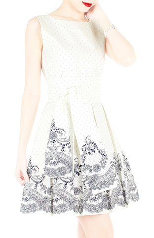 Elegant Moments in Spots & Lace Flare Dress with Obi Belt - White