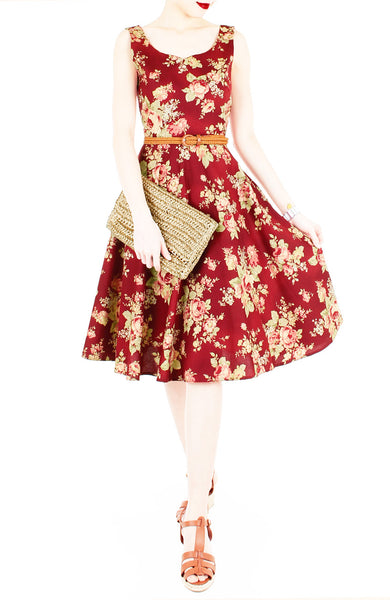 Embolden Age in Sangria Red Flare Midi Dress
