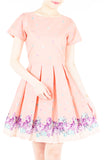 Embracing Rose Grace Flare Dress with Sleeves - Crepe Pink