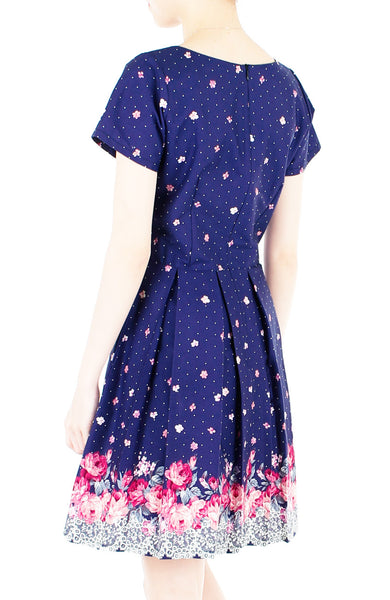 Embracing Rose Grace Flare Dress with Sleeves - Sapphire Blue