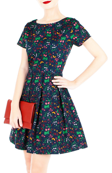 Enchanted Gardens Flare Dress with Short Sleeves