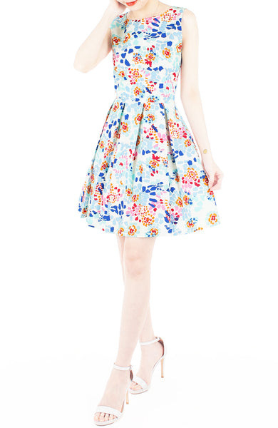 Enchanted Ice Flakes Flare Dress – Deep Blue