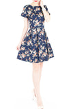 English Rose High-Tea Flare Dress with Short Sleeves - Dark Blue