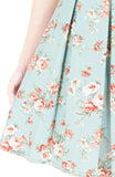 English Rose High-Tea Flare Dress with Short Sleeves - Powder Blue