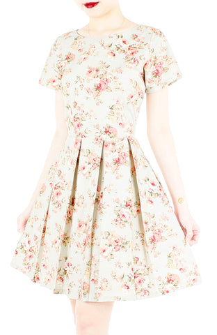 English Rose High-Tea Flare Dress with Short Sleeves – Vintage Green