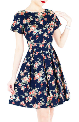English Rose High Tea Flare Dress with Short Sleeves