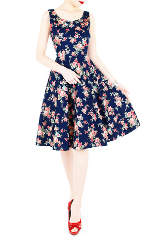 English Rose High Tea Flare Midi Dress