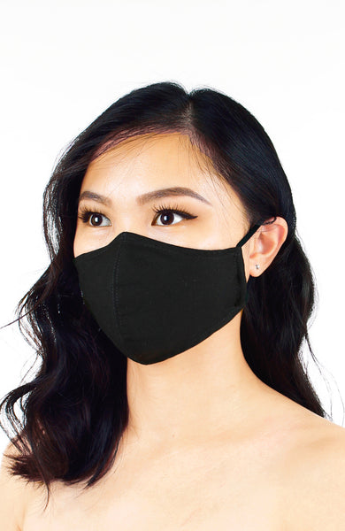 Essential Pure Cotton Face Mask in Noir Black