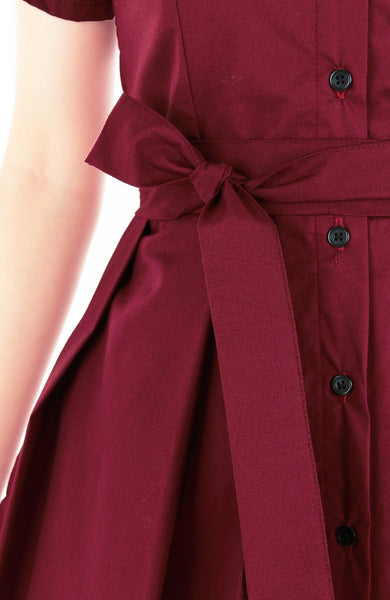 Everlasting Emma Two-way Shirtdress in Wine Red