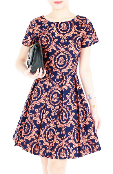 Exquisite Baroque Flare Dress with Short Sleeves