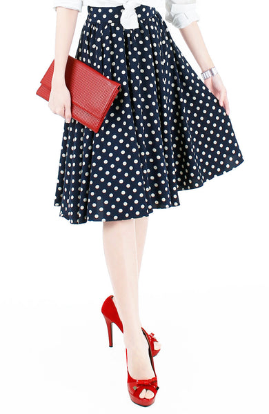 Fabulous Polka 50s Flare Skirt - Midnight Blue